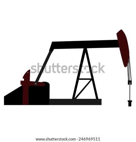 Oil pump, petroleum platform, industrial vector silhouette - stock vector