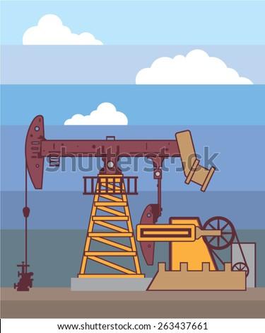 Oil Pumping Rig - stock vector