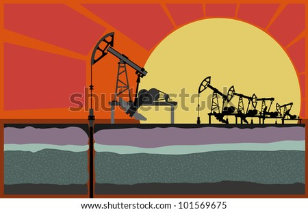 Oil pumping unit against sunset, with borehole in cut of soil (Vector illustration). - stock vector