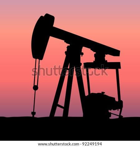 Oil Pumpjack at Sunset - stock vector