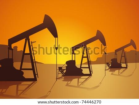 oil pumps on the desert - stock vector