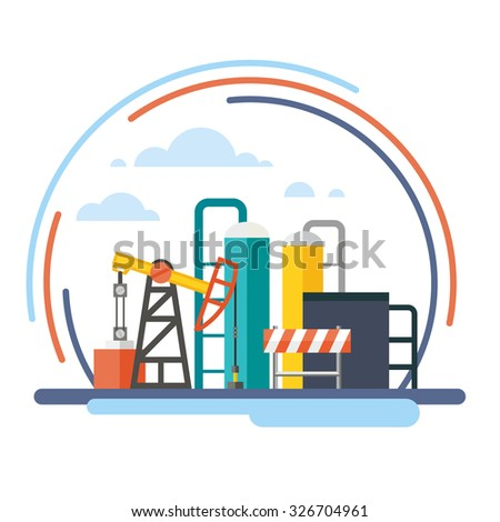 Oil recovery, oil rig, a gas station. Vector flat illustrations - stock vector