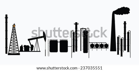 Oil refinery detailed illustration with smokestack and pumpjack  - stock vector