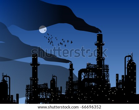 Oil refinery factory and night, vector illustration