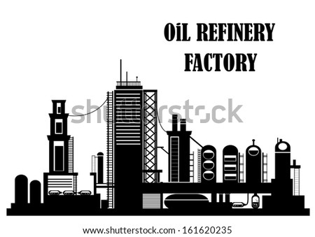 Oil refinery factory for industrial concept design. Jpeg version also available in gallery - stock vector