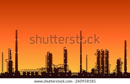 Oil refinery or chemical plant silhouette with night lights on at sunset. Detailed vector illustration. - stock vector