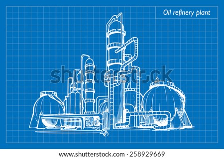 Oil refinery plant. EPS10 vector illustration imitating blueprint style scribbling with white marker. - stock vector