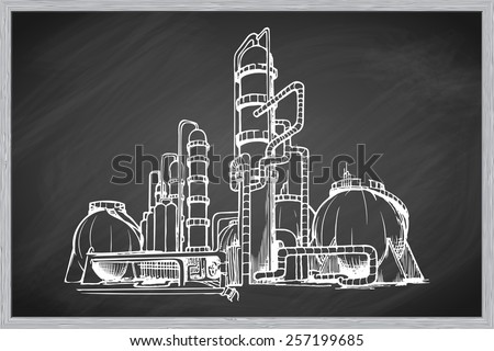 Oil refinery plant. EPS10 vector illustration in a sketchy style imitating scribbling on the blackboard. - stock vector