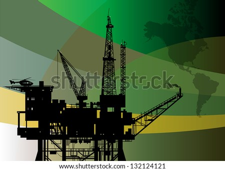 Oil rig abstract background, vector illustration - stock vector