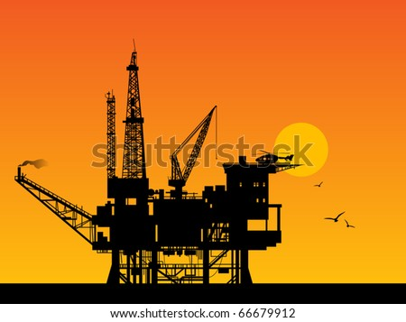 Oil rig in sea and sunrise, vector illustration