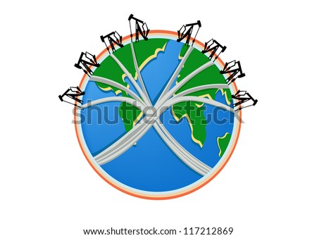 Oil rig on world. - stock vector