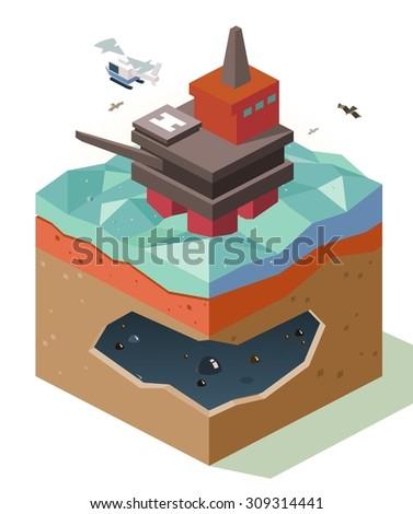 Oil Rig reserve. isometric art - stock vector