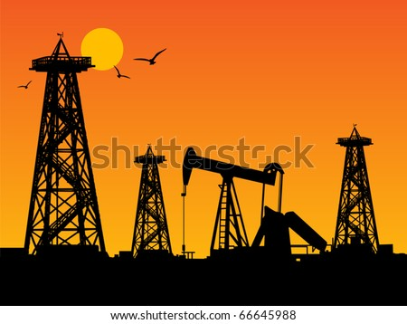 Oil rig silhouettes and orange sky, vector illustration - stock vector