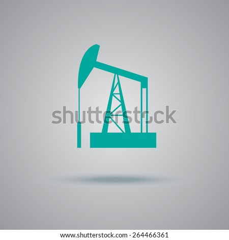 Oil, rig, vector, icon, flat, illustration. - stock vector