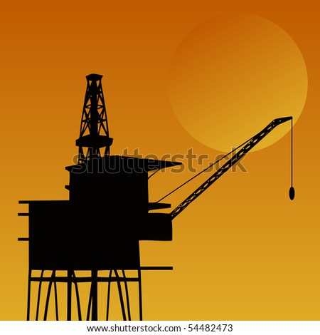 Oil rig with unstable legs against orange sky and sun.