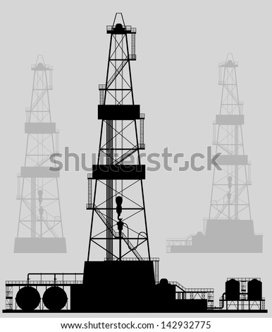 Oil rigs silhouette. Detailed vector illustration. - stock vector