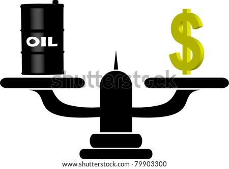 Oil versus Dollar - stock vector