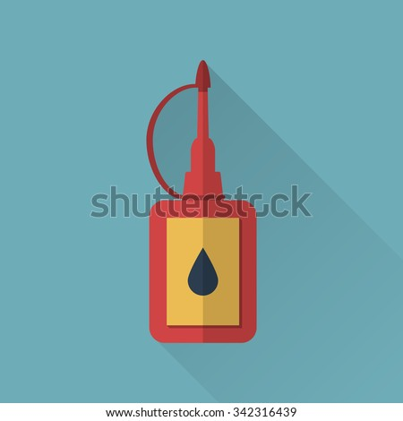 Oiler with lubricating oil. Icon in flat design with long shadow. Vector illustration - stock vector