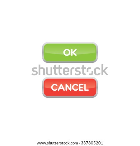 Ok and Cancel Buttons - stock vector