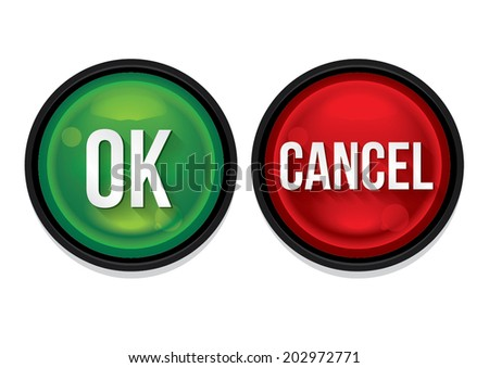 Ok and cancel buttons isolated. Vector Illustration - stock vector
