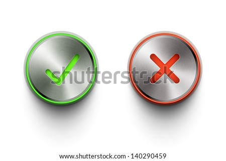 ok and cancel metal round buttons on white background eps10 vector illustration - stock vector