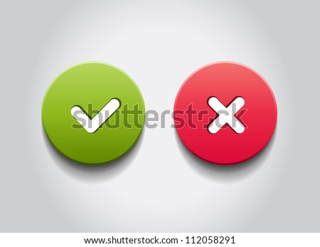 OK and Cancel vector round web buttons - stock vector