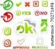 Ok and No icon. Vector beautiful sticker set. - stock vector