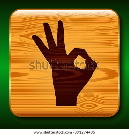 OK hand sign on a wooden texture Vector Illustration