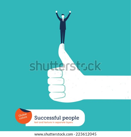 ok hand with successful business man. Vector illustration Eps10 file. Global colors. Text and Texture in separate layers. - stock vector