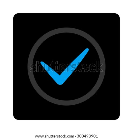 OK icon. The icon symbol is drawn with blue and gray colors on a black button isolated on a white background.