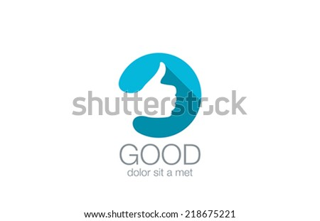 OK Like Hand Sign vector logo design template. Flat Long shadow icon style with negative space. - stock vector