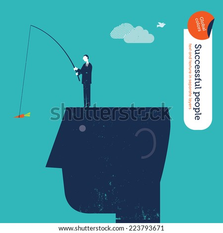 ok man with fishing rod and carrot. Vector illustration Eps10 file. Global colors. Text and Texture in separate layers. - stock vector