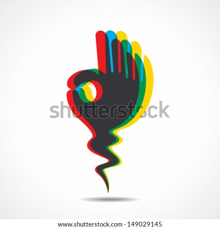 ok sign or different color overlap of ok sign  hand vector - stock vector