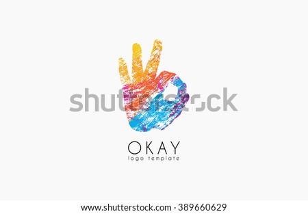 Okay logo. Ok logo design. Creative logo design. Colorful logo.  - stock vector