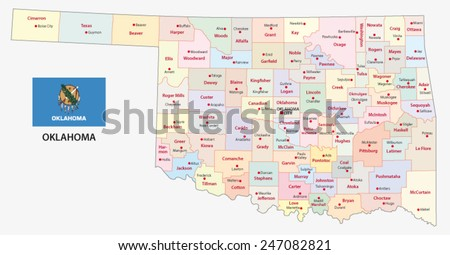 oklahoma administrative map with flag - stock vector