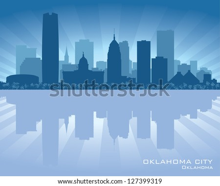 Oklahoma City skyline silhouette - stock vector