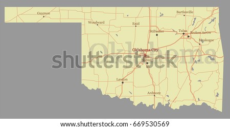 Oklahoma Detailed Vector State Map With Pastel Yellow Ilration With Main Roads United States Of