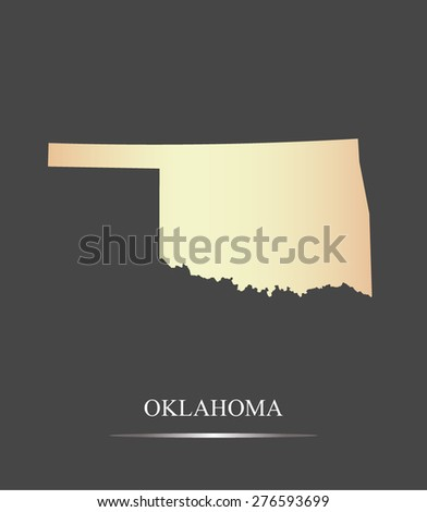 Oklahoma map outlines in an abstract grey background, a black and white map of State of Oklahoma in USA - stock vector