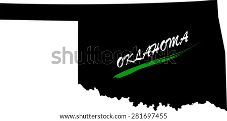 Oklahoma map vector in black and white background, Oklahoma map outlines in a new design - stock vector