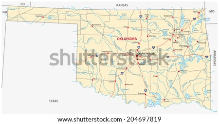 Oklahoma Map Stock Images RoyaltyFree Images Vectors - Oklahoma road map