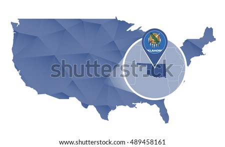 Oklahoma State magnified on United States map. Abstract USA map in blue color. Vector illustration.
