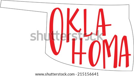 Oklahoma State Outline and Hand-lettering - stock vector