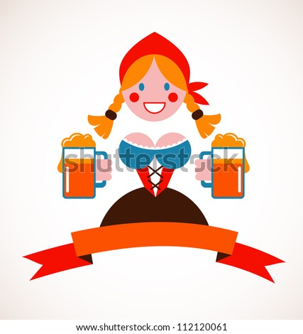 Oktoberfest background - girl with beer - stock vector