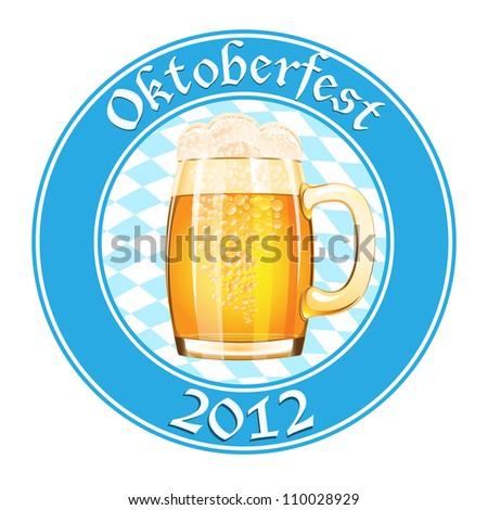 Oktoberfest banner with beer mug - stock vector