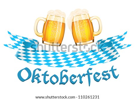 Oktoberfest banner with two beer mugs - stock vector