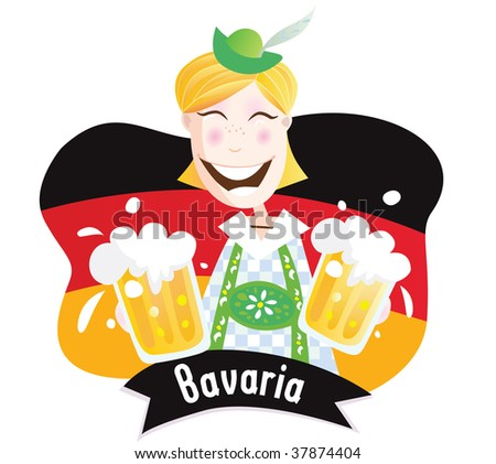 Oktoberfest (Bavarian male with beer). Bavarian man in traditional clothes. Vector Illustration. - stock vector