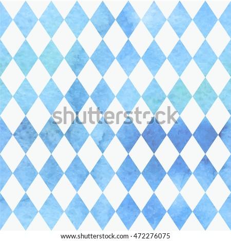 Oktoberfest bavarian watercolor aquarelle traditional blue white beautiful background pattern. Bavarian traditional seamless with watercolor blue rhombus background. Vector illustration. EPS 10