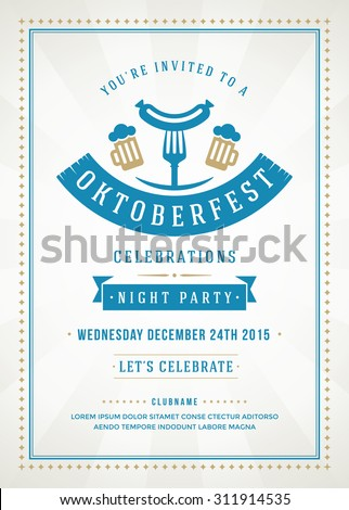 Oktoberfest beer festival celebration retro typography poster or flyer template.  - stock vector