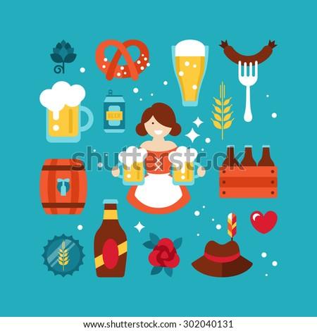 Oktoberfest beer festival flat icons design