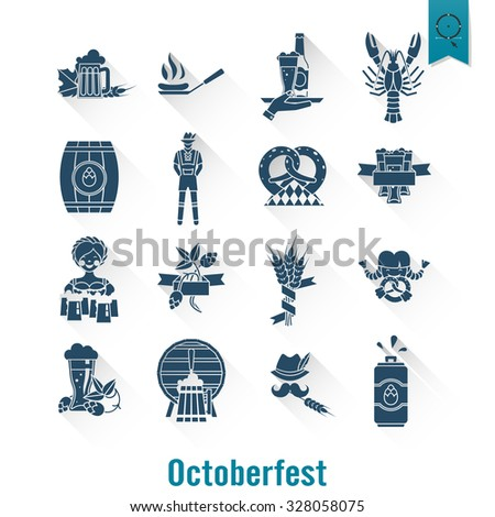 Oktoberfest Beer Festival. Long Shadow. Flat design style. Vector - stock vector